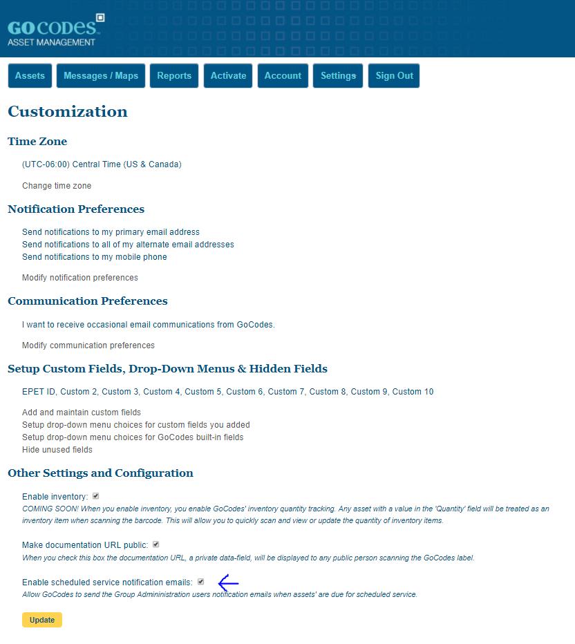setting up asset service notifications