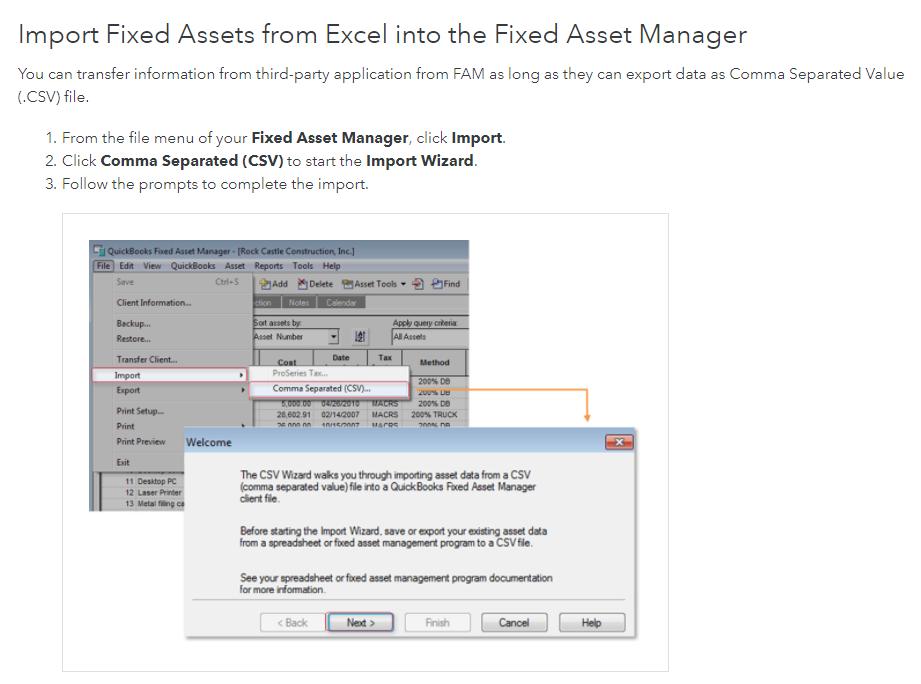 import quickbooks fixed asset manager fam into GoCodes